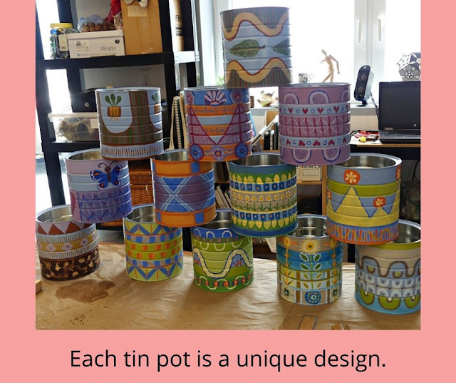 Hand Painted Tin Pots designed by Minaz Jantz
