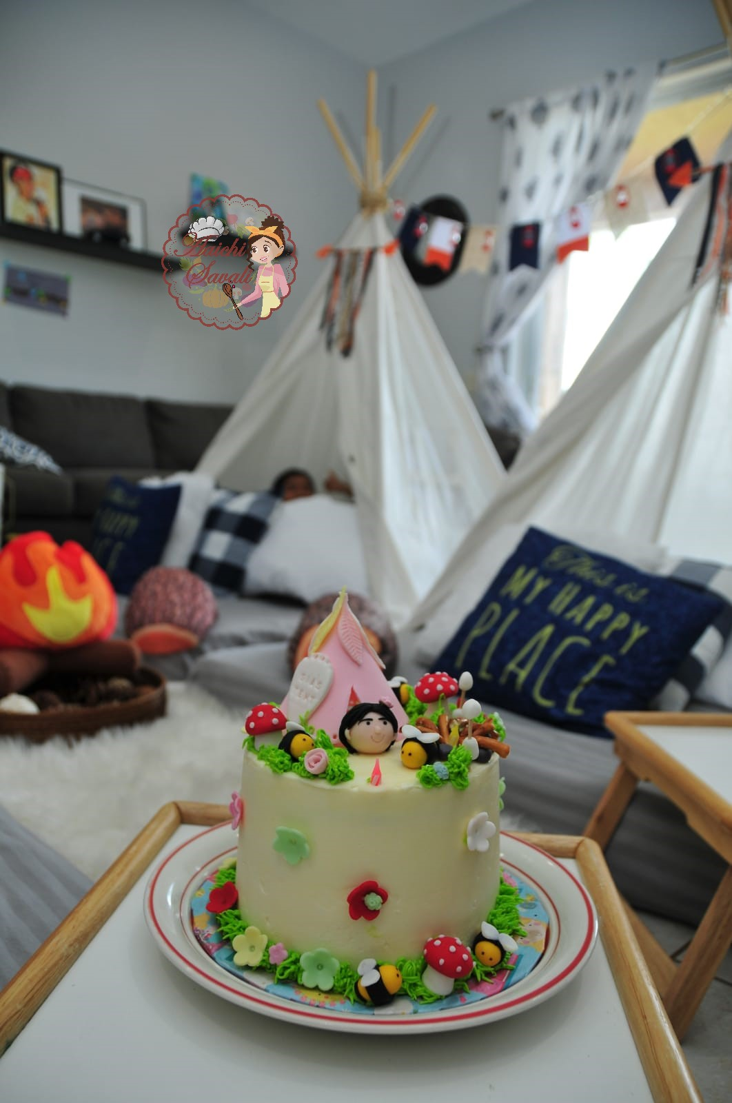 Phenomenal Camping Themed Birthday Cake And Party Ideas Aaichi Savali Personalised Birthday Cards Cominlily Jamesorg