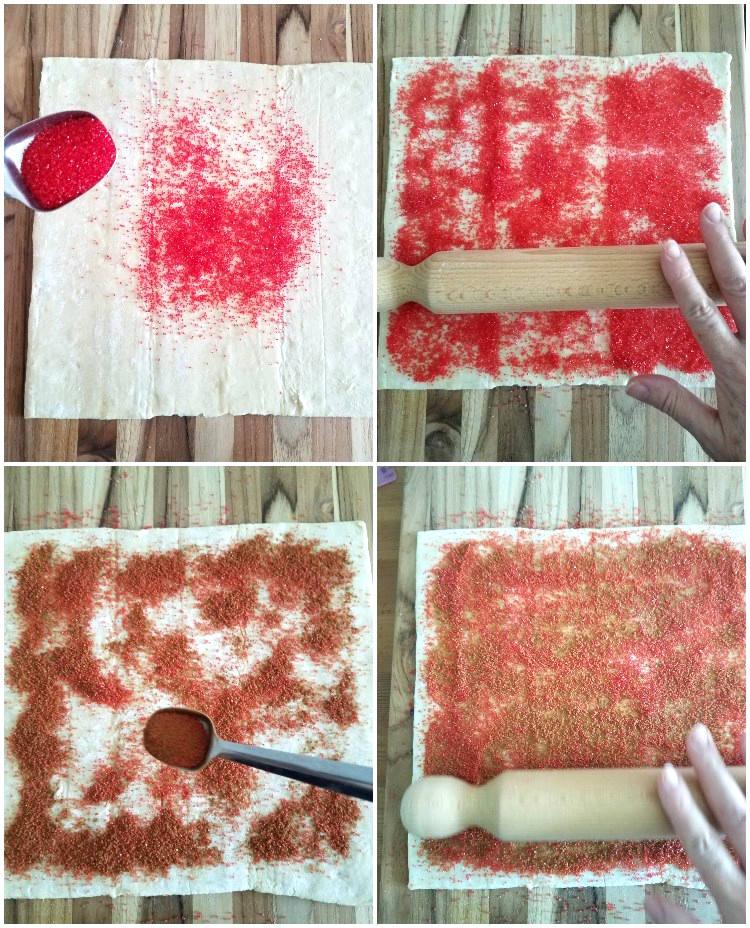 Preparando la masa para hacer las palmeritas