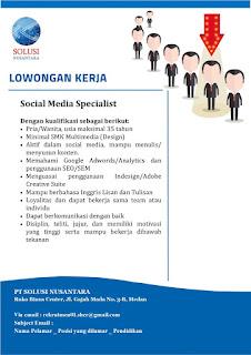 Lowongan Kerja Medan SMA SMK D3 S1 Mei 2020 PT Solusi Nusantara