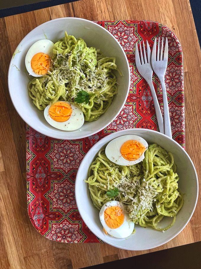 two bowls of Creamy Avocado Breakfast Pasta