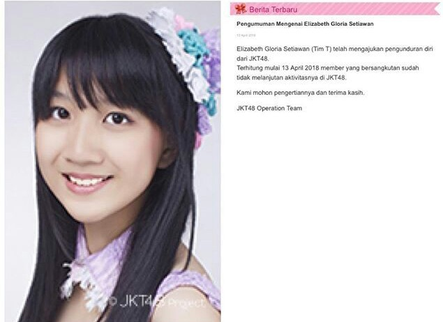 Ori JKT48 Keluar Graduate Elizabeth Gloria