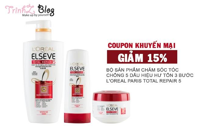 Tặng mã coupon giảm giá 15% cho bộ sản phẩm chăm sóc tóc của L'Oreal Paris