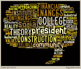 Word cloud of the article: On the making of hard times and good times