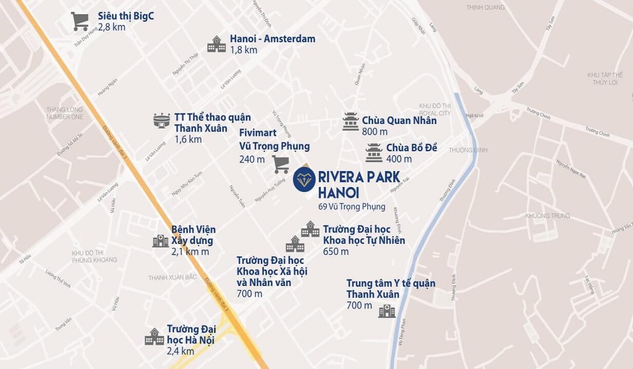 Vị trí kết nối từ chung cư Hà Nội Rivera Park - ducanhland