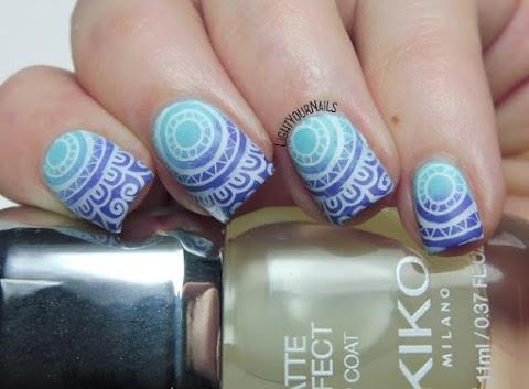 Blue and purple mandala stamping