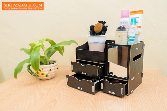 wood makeup organizer with drawers