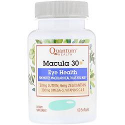 Quantum Health, Macula 30+, здоровье глаз, 60 мягких таблеток