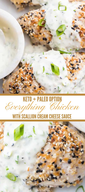 Everything Bagel Chicken with Scallion Cream Cheese Sauce #chicken #cheese #dietketo #healthyrecipes #noodle
