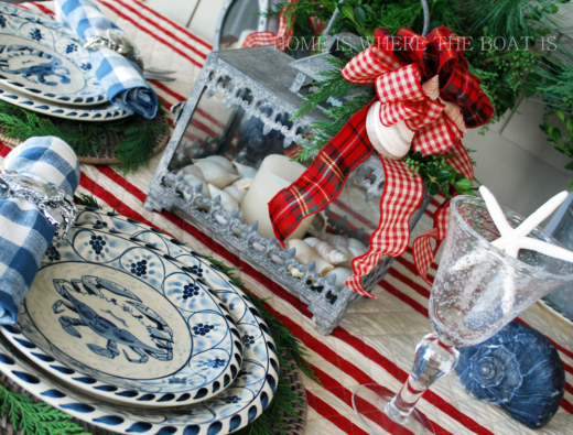 Natural Greenery Christmas Table Coastal Nautical Theme