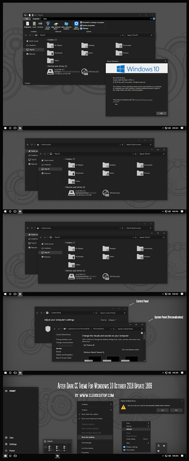After Dark CC Theme For Windows 10 October 2018 Update 1809