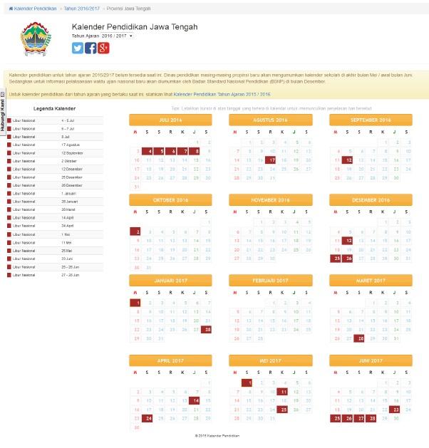 34 Kalender Pendidikan Tahun Pelajaran 2016/2017