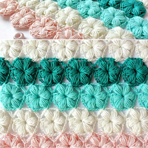 Flower Puff Stitch - Free Pattern