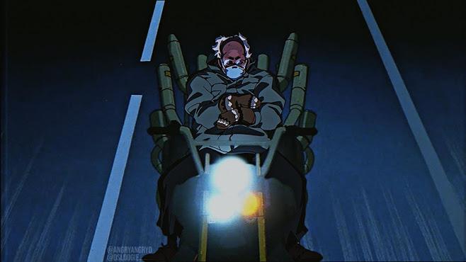 Deckchair Bernie Sanders vs. The Joker, leader of the Clown Gang from Akira