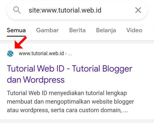 Contoh Favicon Tampil di pencarian Google  - Tutorial.web.id