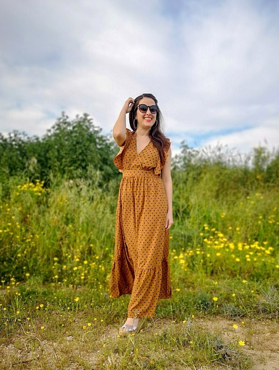 Maxi polka dot dress