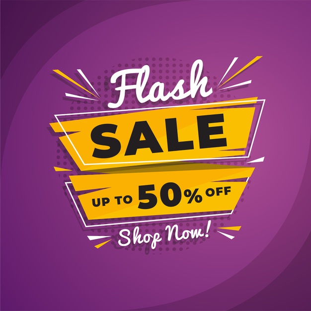 Abstract flash sale promotion banner Free Vector Banners