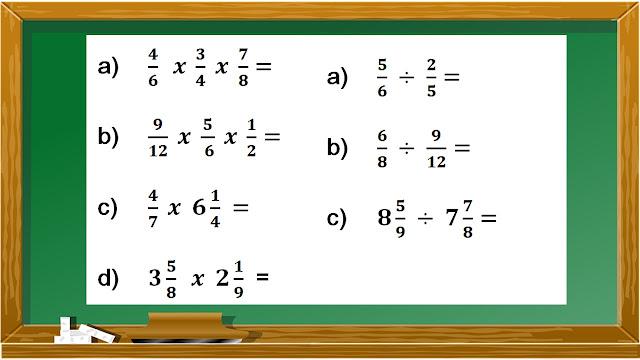 división y multiplicación de fracciones evaluación