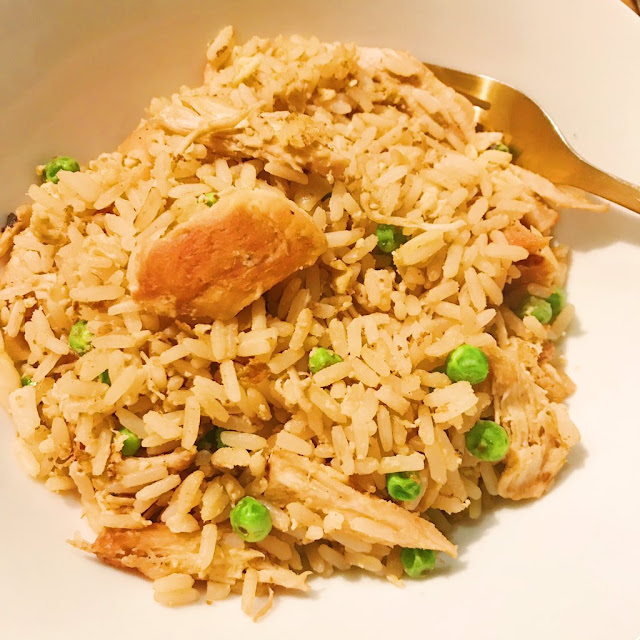 Closeup of Homemade Chicken Fried Rice in bowl