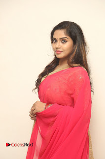 Actress Karunya Chowdary Pictures in Red Saree at Neerajanam Audio Launch  0087.JPG