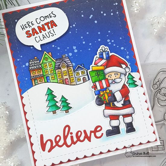 Here Comes Santa Claus Card by Andrea Shell | Dear Santa and Snow Globe Scenes Stamp Sets and various Die Sets by Newton's Nook Designs #newtonsnook