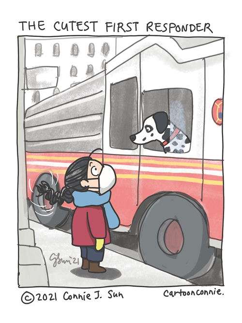 Cartoon illustration of seeing a Dalmatian in a fire truck, slice of life, NYC, journal comics, sketchbook drawing by Connie Sun, cartoonconnie