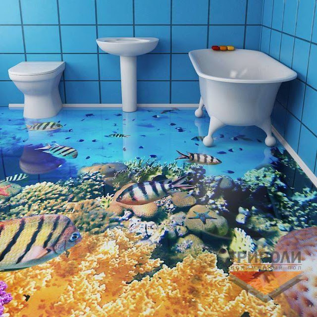 Cool 3d flooring for blue bath interior