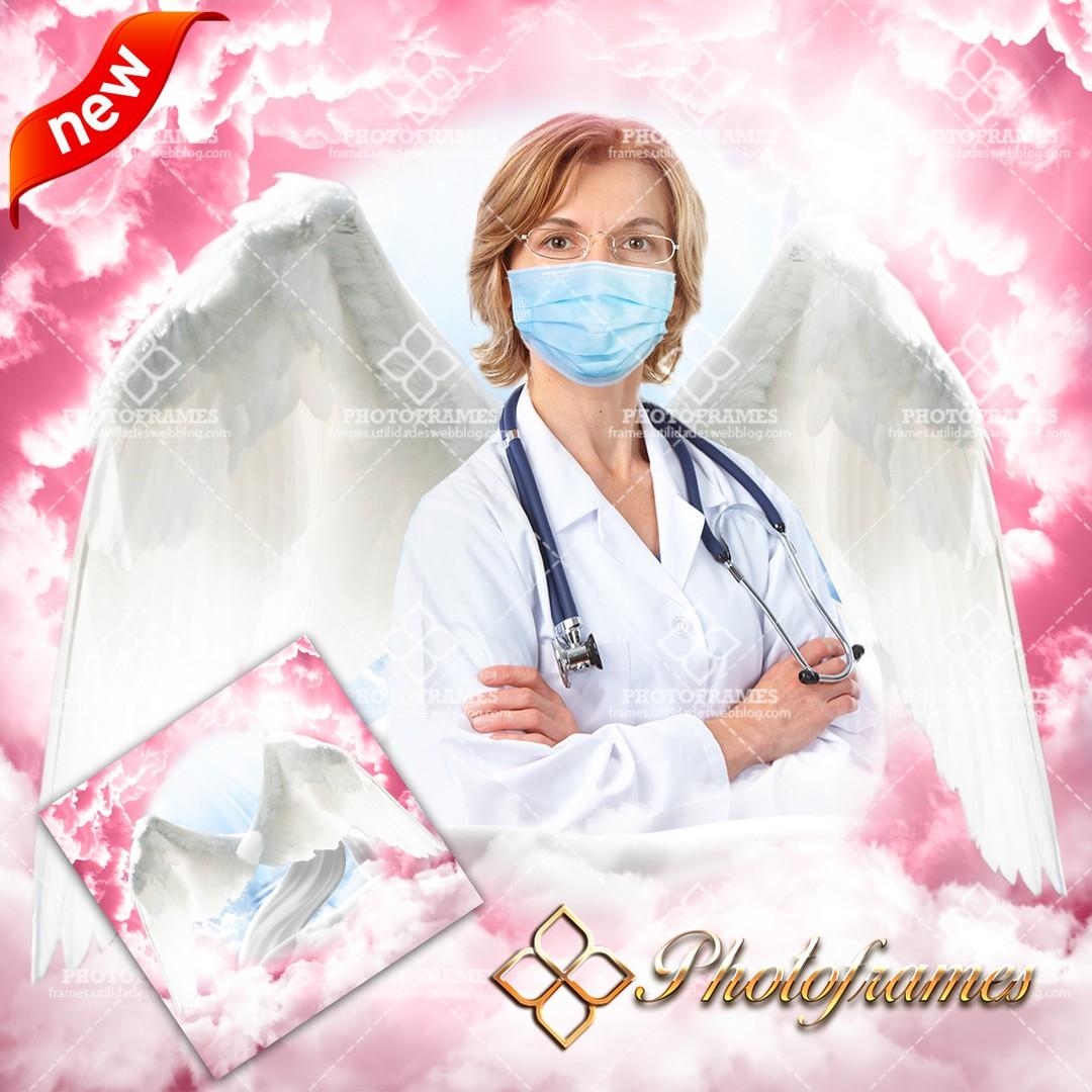 Fondo con nubes rosadas y alas de ángel