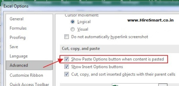 Paste Options button when content is pasted