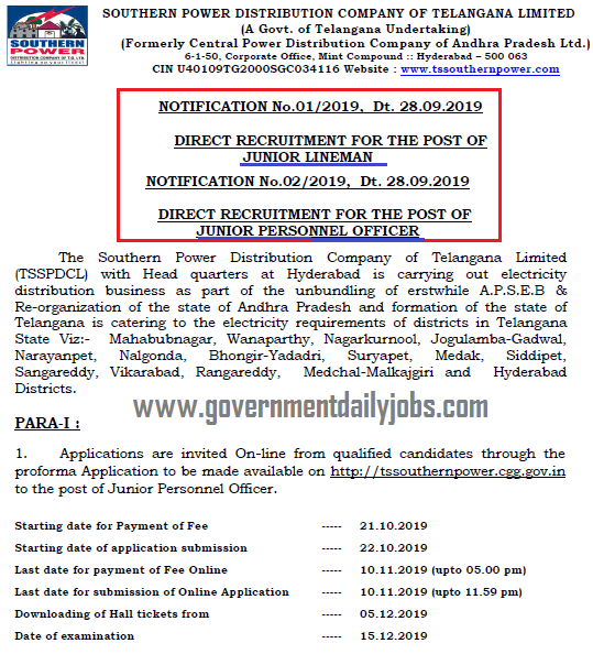 TSSPDC JLM & JPO Jobs 2019