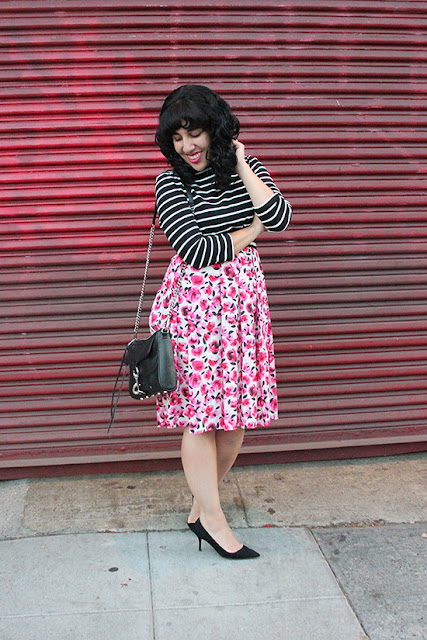 Will Bake for Shoes | Kate Spade New York Stripe 3/4 Tee and  Rose Print Skirt Outfit