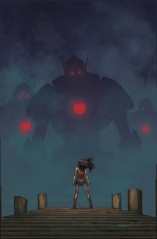 Cover of Wonder Woman #760 showing robots appearing from the mist as WW stands in the foreground
