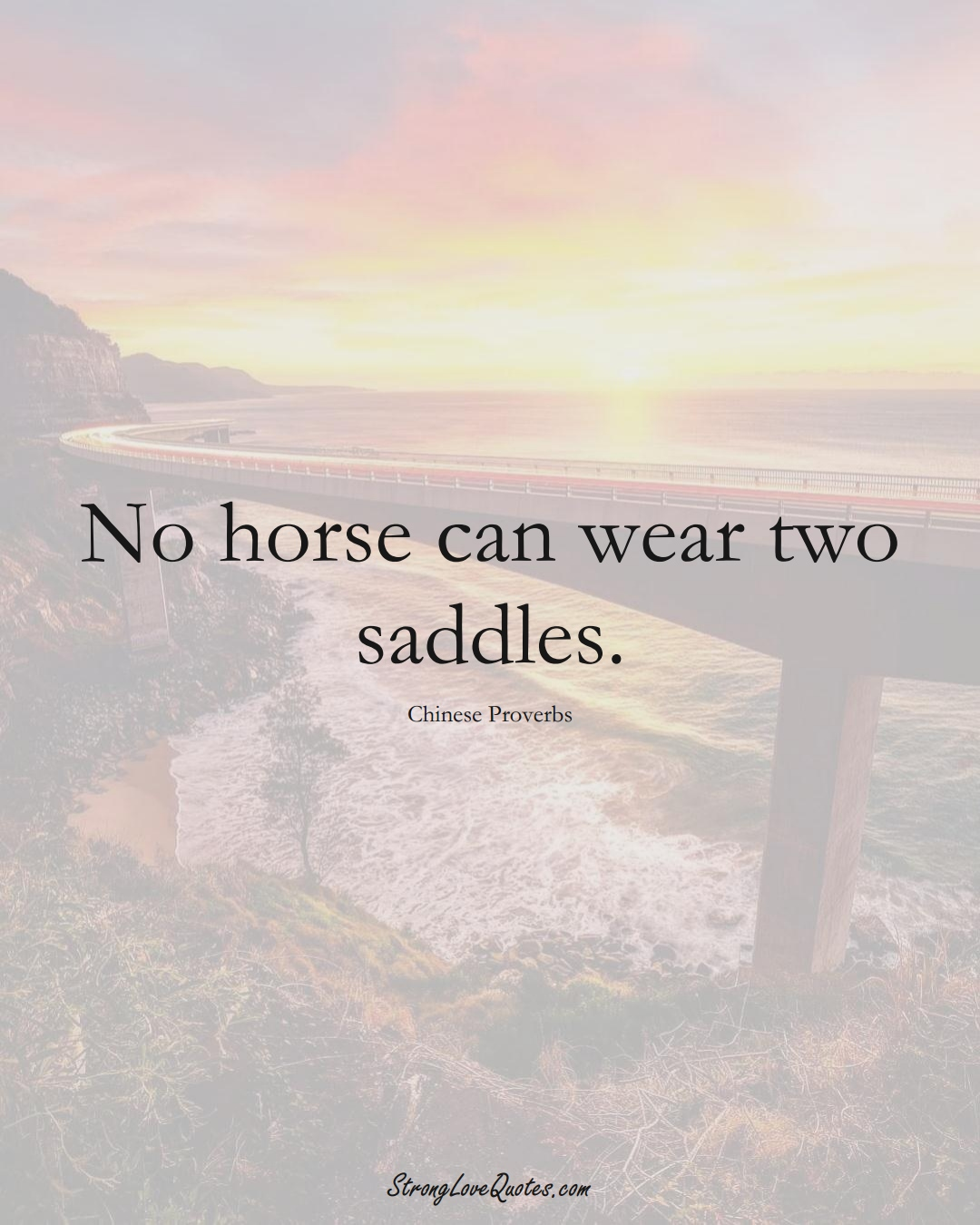 No horse can wear two saddles. (Chinese Sayings);  #AsianSayings