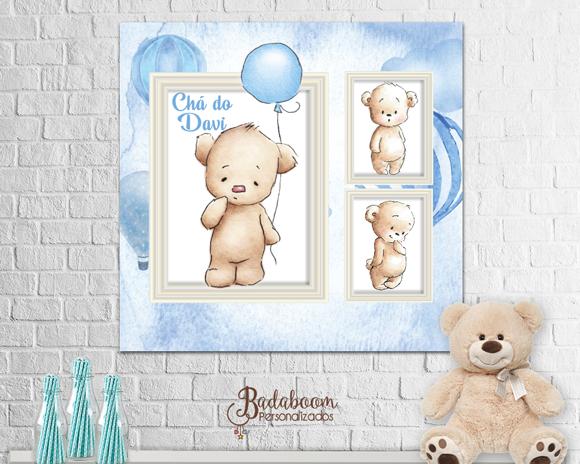 Urso, chá de bebê, chá de fraldas, painel, arte digital, arte personalizada