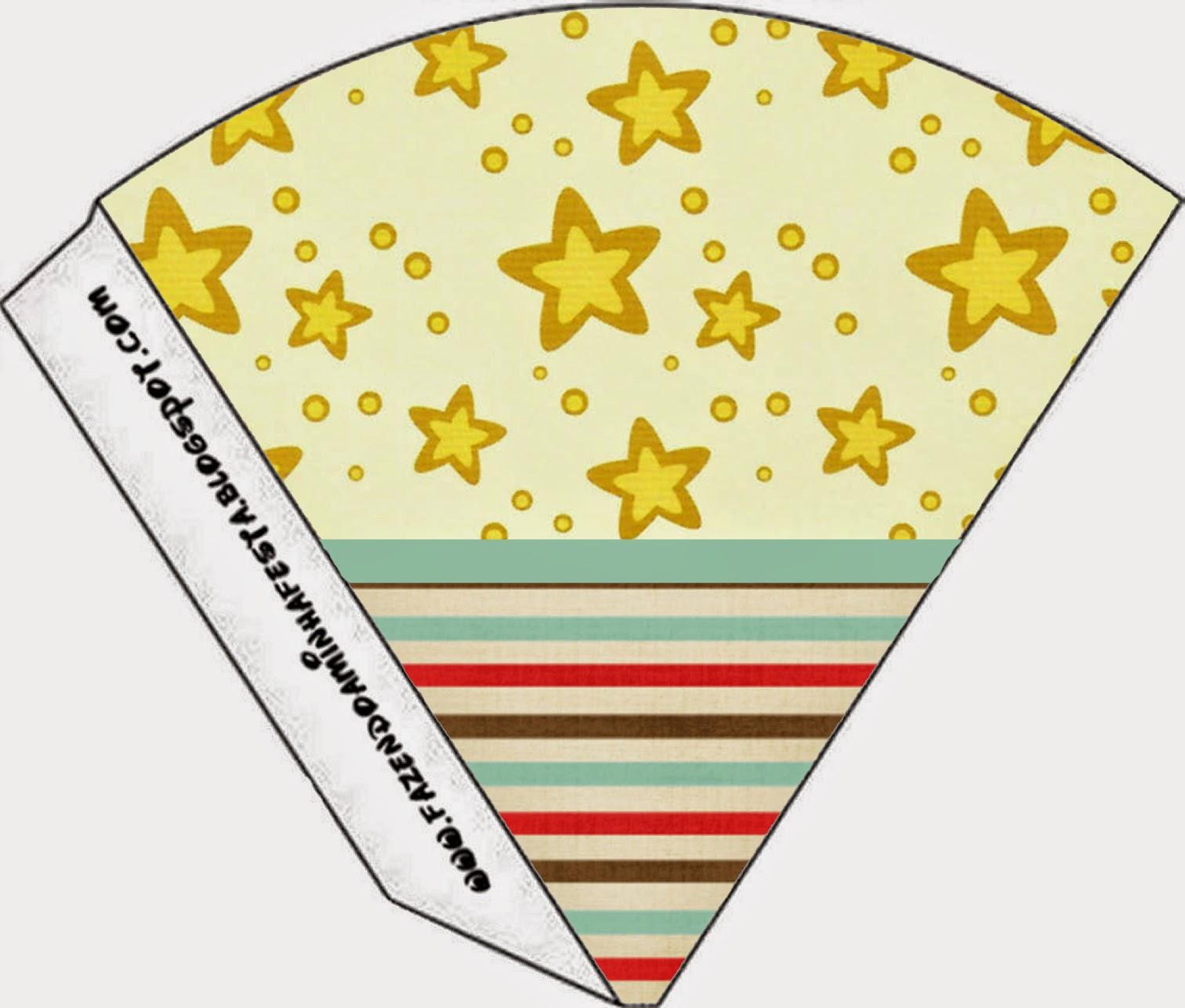 Conos=Cucuruchos para Imprimir Gratis de Estrellas Doradas y Rayas de Colores.