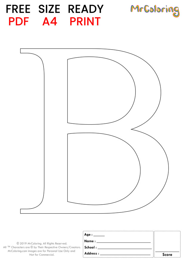Alphabet letter B coloring pages Uppercase or Capital Formal for kids