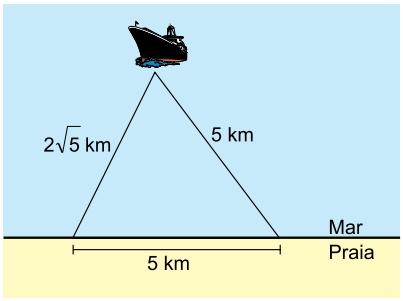 Albert Einstein 2021: O radar de uma embarcação indica que a região segura de navegação até a praia é delimitada pelo triângulo cujas medidas dos lados estão descritas na figura