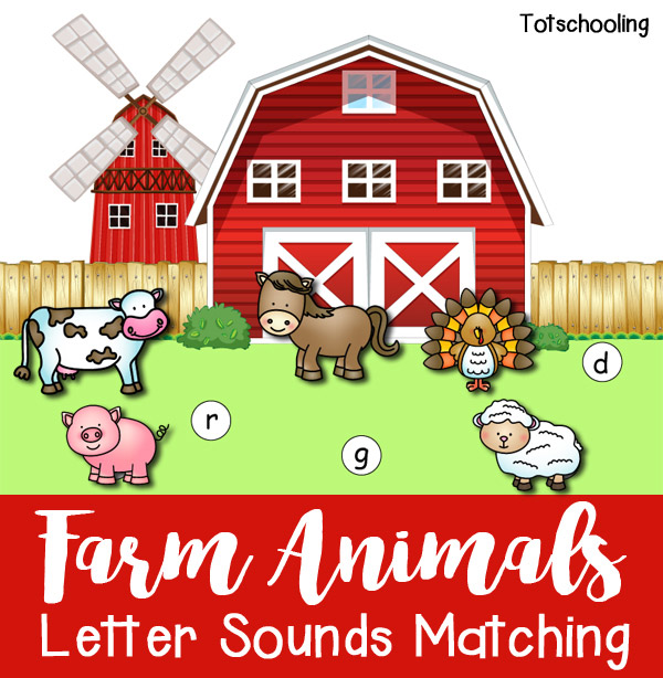 FREE beginning letter sounds matching with a farm animal theme. Great preschool and kindergarten activity to learn letter sounds and can be used as a cutting, pasting and coloring activity.