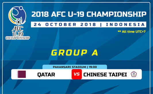 Live Streaming Qatar vs Chinese Taipei AFC U19 24.10.2018