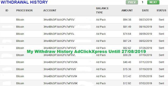 Bukti Penarikan Profit dari Adclickxpress