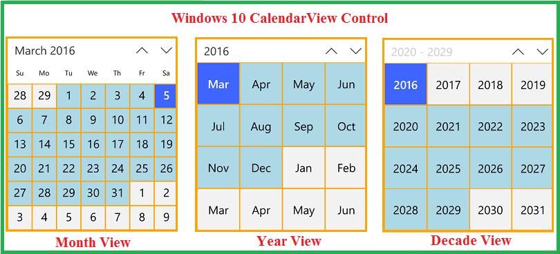 Calendar Year View : Windows uwp apps calendar controls c xaml