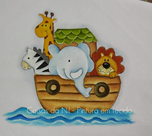 pintura em tecido manta com arca de noe e bichinho