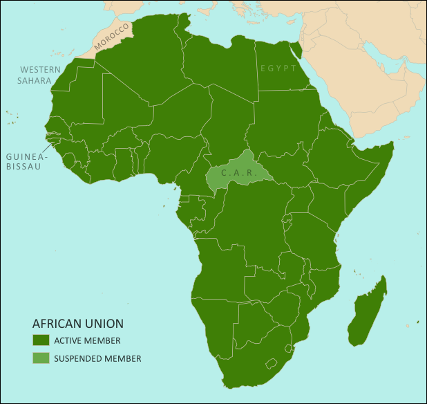 Map of the African Union, including active and suspended members, updated for the June 2014 reinstatement of Egypt and Guinea-Bissau (colorblind accessible).