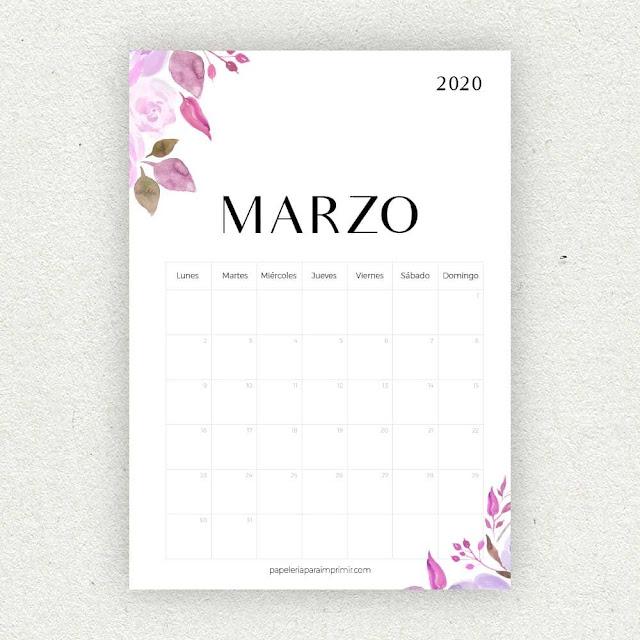 Calendario 2020 de Marzo para imprimir