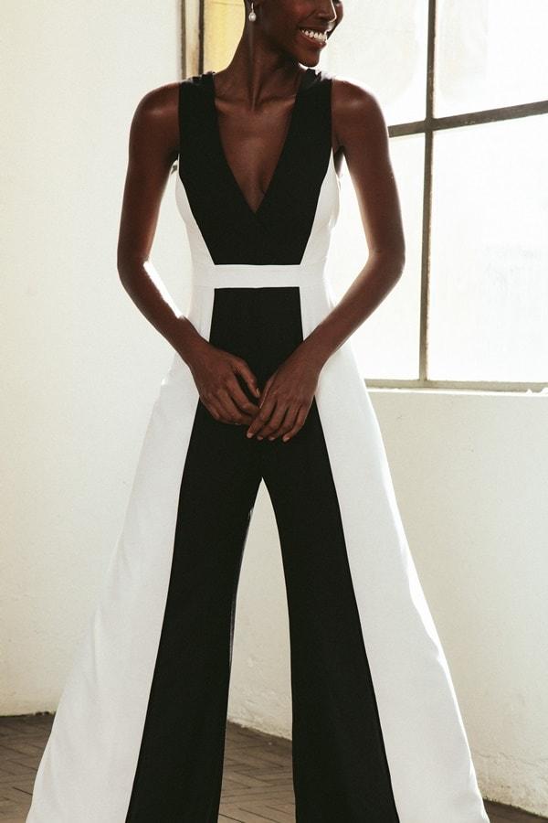 macacão social preto preto e branco pantalona