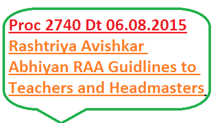 Rashtriya Avishkar Abhiyan RAA Guidlines to Headmasters and Science and Mathematics teachers