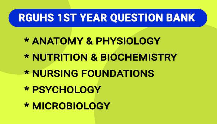 RGUHS B.Sc Nursing 1st Year Question Bank, Blueprint PDF 2021
