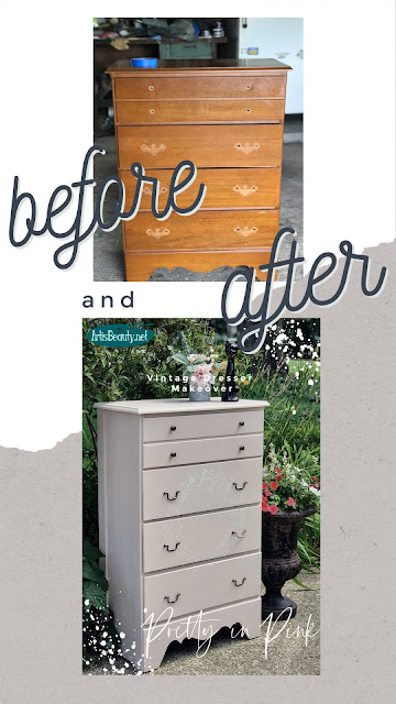 Before and After Pretty in Pink Painted Vintage Dresser Makeover Karin Chudy Artisbeauty.net
