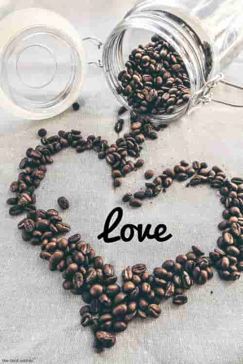 coffee beans jar glass love heart pic