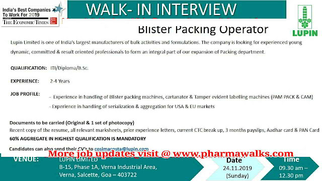Lupin Limited walk-in interviews on 24th November, 2019